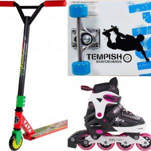 Kickbike, Skateboard och Inlines